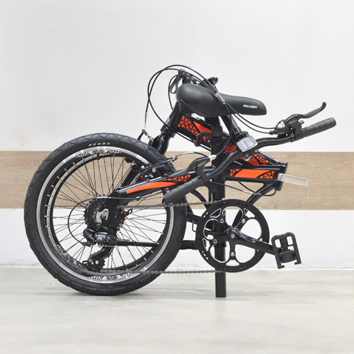 Raleigh UGO Folding Bike Orange Folded